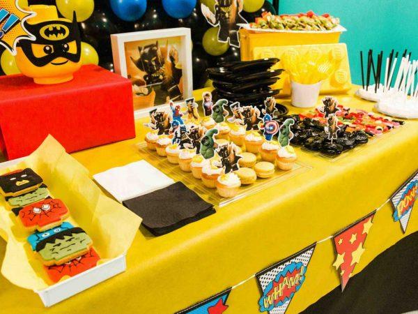 festa tema lego super heroes